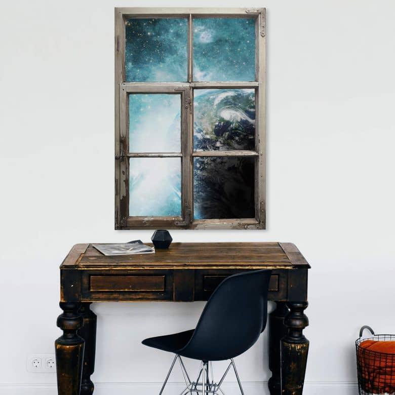 3D Wandtattoo Fenster Shabby - In einer fernen Galaxie