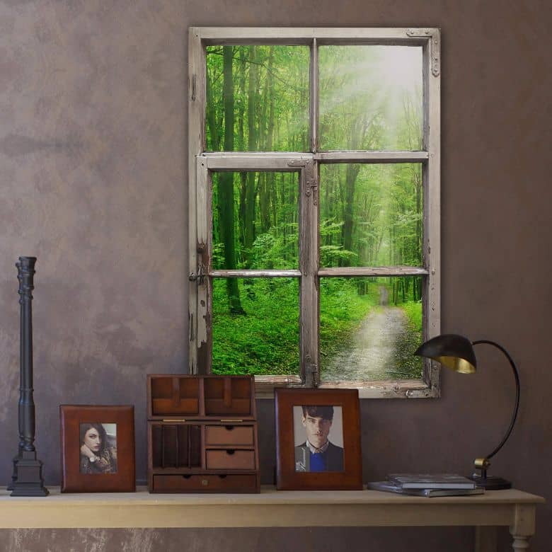3d wandtattoo fenster shabby sunny forest wall. Black Bedroom Furniture Sets. Home Design Ideas