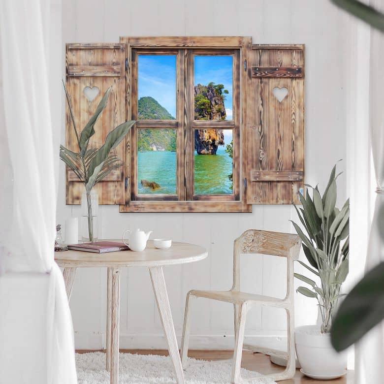 3D Wandtattoo Holzfenster mit Herz - Khao Ta Pu Island