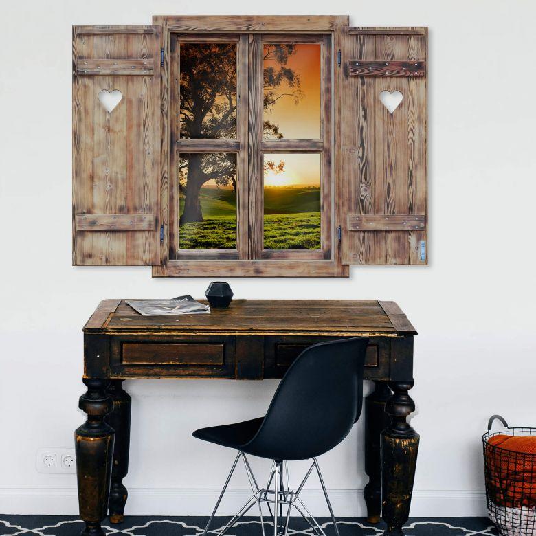 3D Wandtattoo Holzfenster mit Herz - Sonnenuntergang über den Hügeln