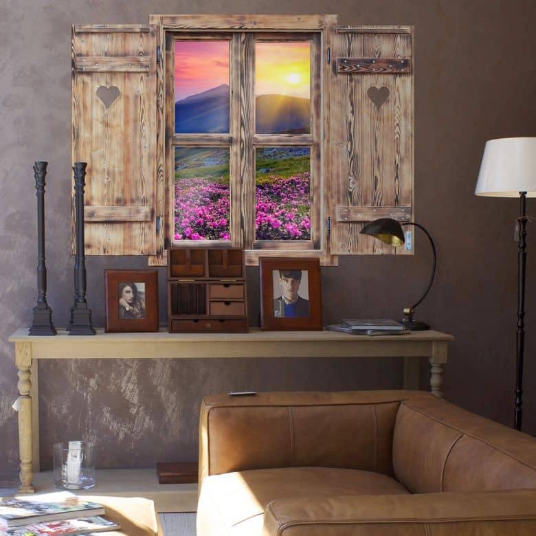 3D Wandtattoo Holzfenster mit Herz - Sonnenuntergang in den Bergen
