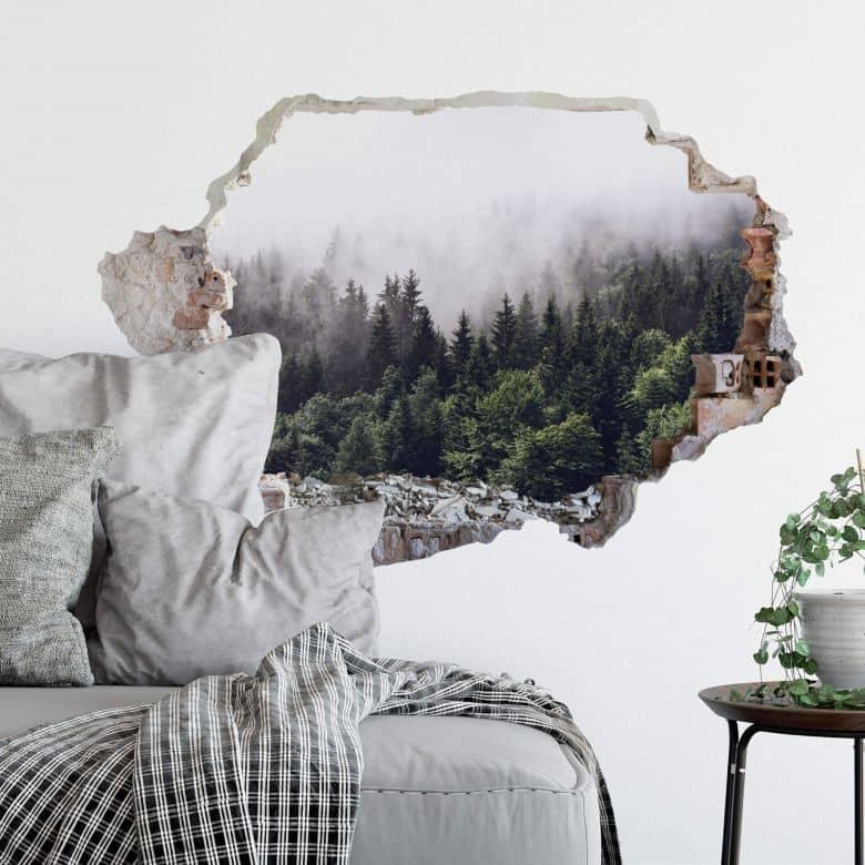 3D Wandtattoo Nebliger Wald