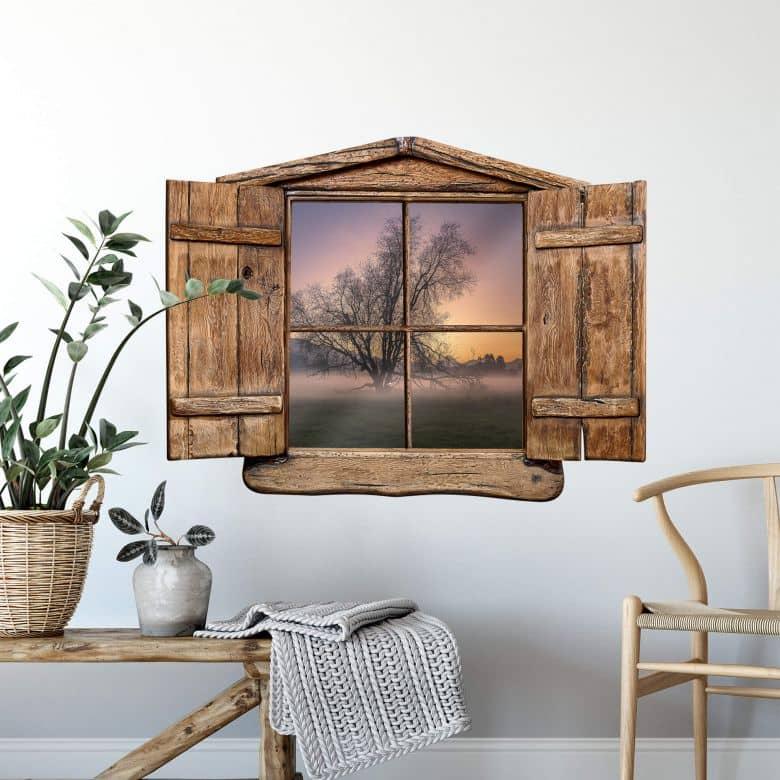3D Wandtattoo Holzfenster - Cuadrado - The Fog