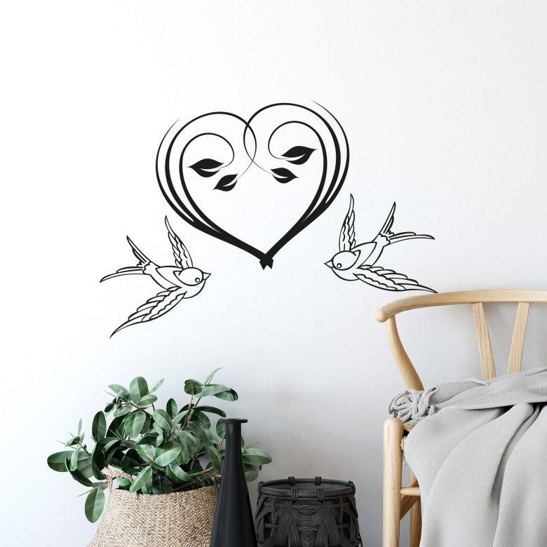 Wandtattoo Flower Heart