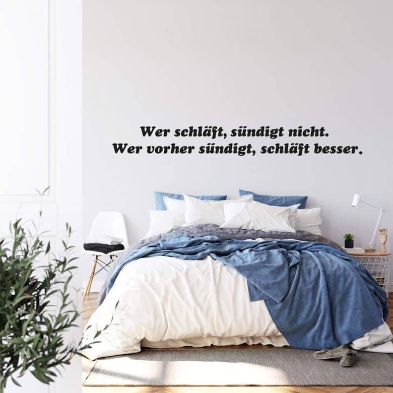 Wandtattoo Wer Schlaft Sundigt Nicht Wer Vorher Sundigt Schlaft Besser Deko Fur Schlafzimmer Wall Art De