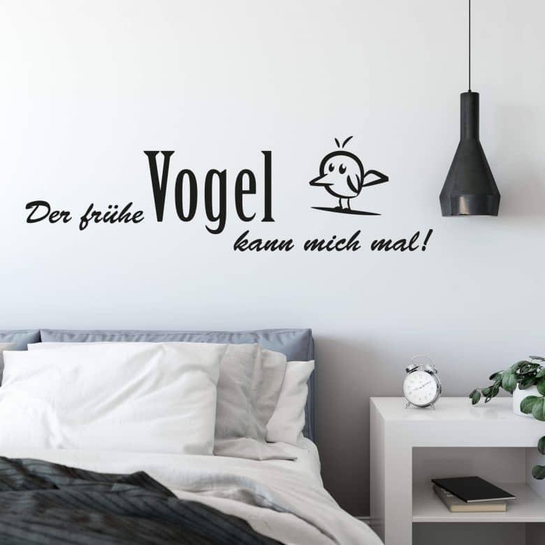wandtattoo der fr he vogel kann mich mal deko f r morgenmuffel wall. Black Bedroom Furniture Sets. Home Design Ideas