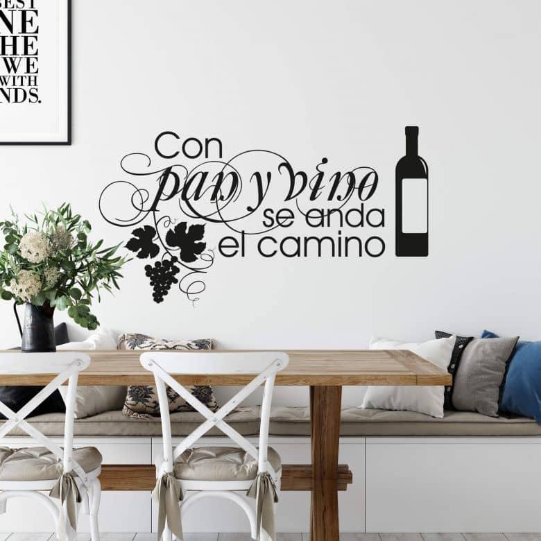 Sticker mural - Con pan y vino se anda el camino