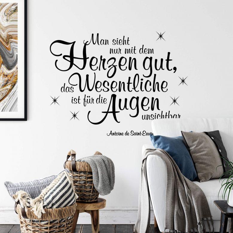 Graue Gestaltung Von Dem Flur Mit Wanddeko Bilderrahmen: Wandtattoo Man Sieht Nur Mit Dem Herzen Gut, Das