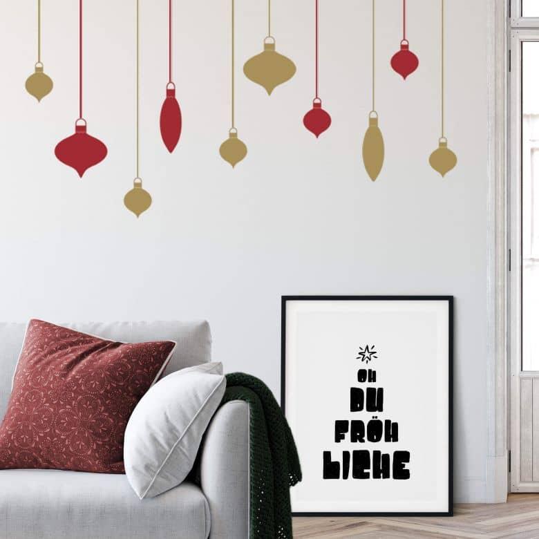 Muurstickers Kerstballen 2-kleurig