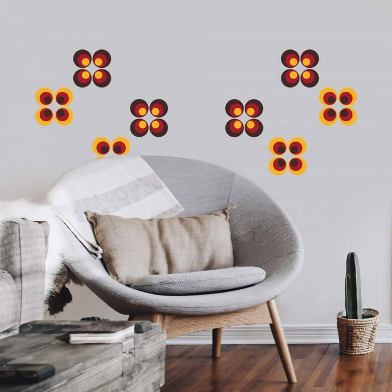Sticker mural - Sphères rétro orange