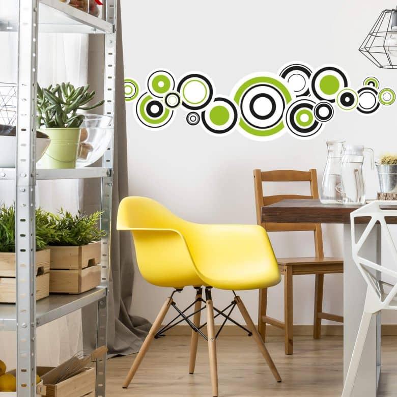 Sticker mural - Rétro Bubbles verts