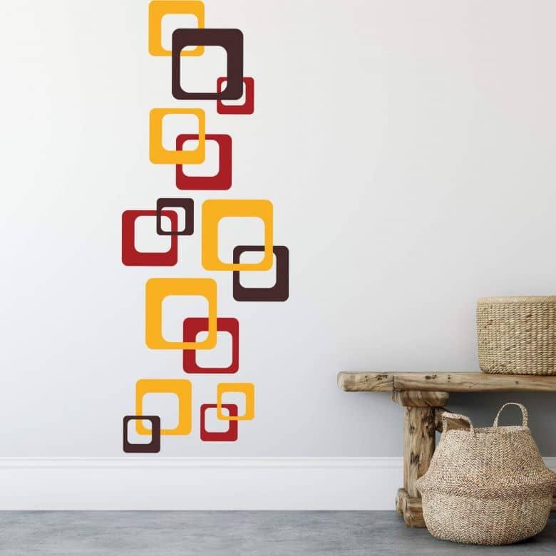 Sticker mural - Rétro Cubes orange