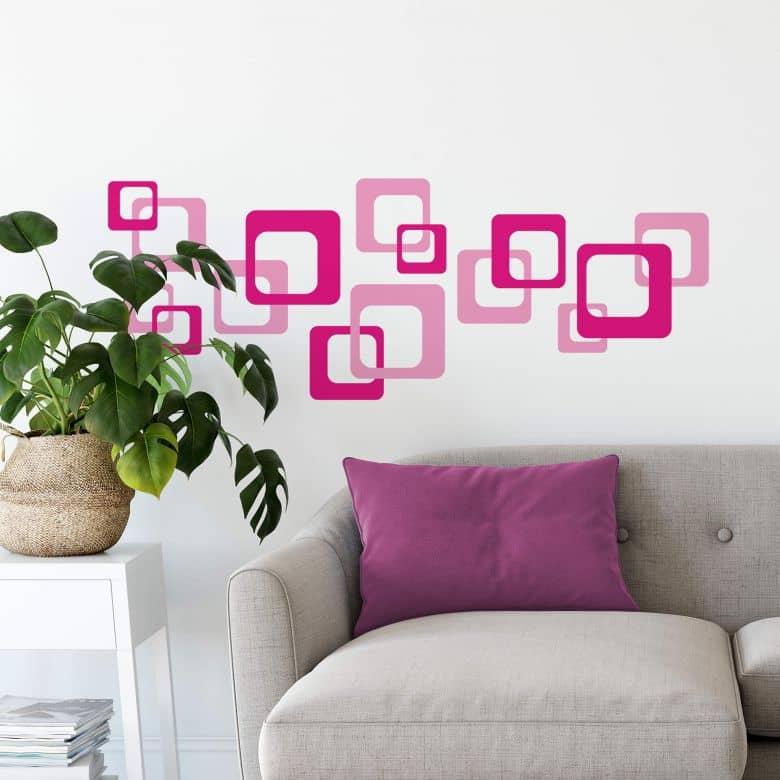 Sticker mural - Rétro Cubes fuchsia