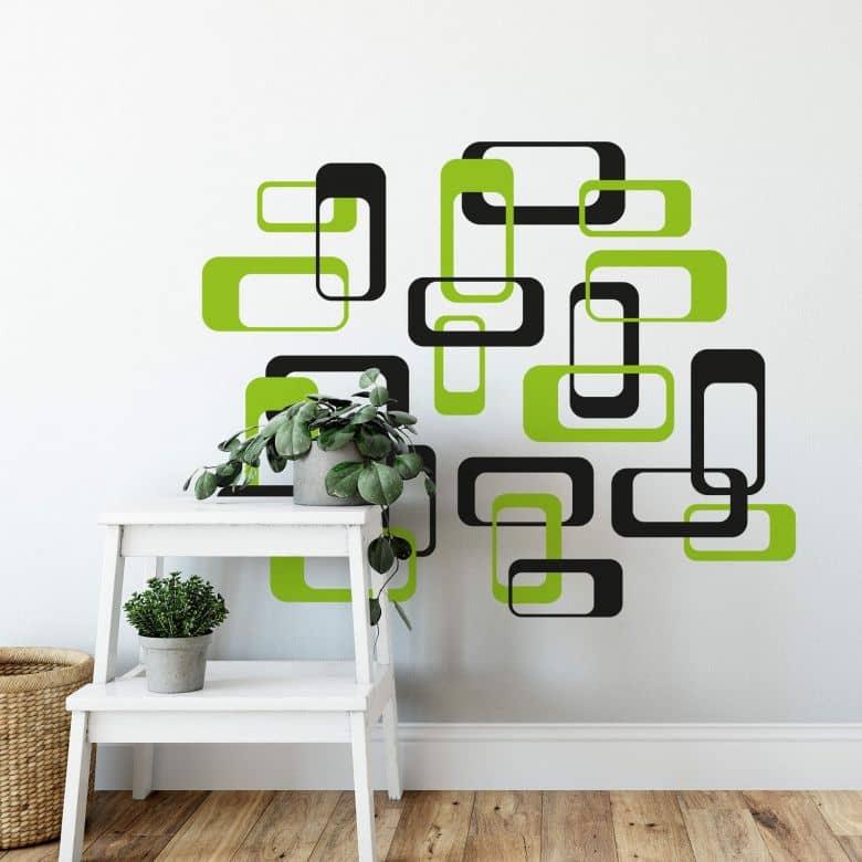 Sticker mural - Boîtes verts rétro