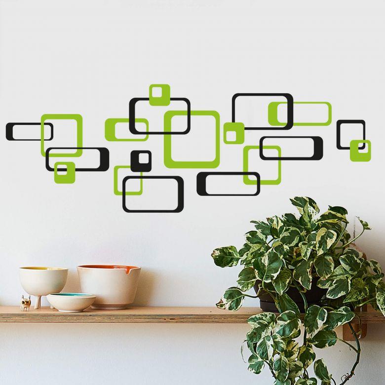 Sticker mural - Rectangles verts rétro