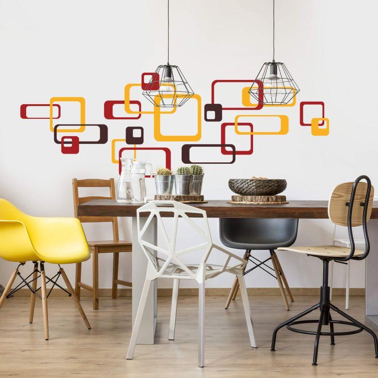 Retro Rectangles Orange Wall sticker