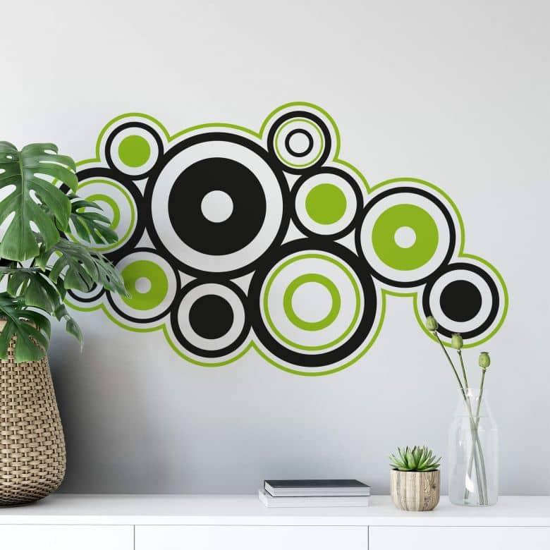 Retro Rings Green Wall sticker