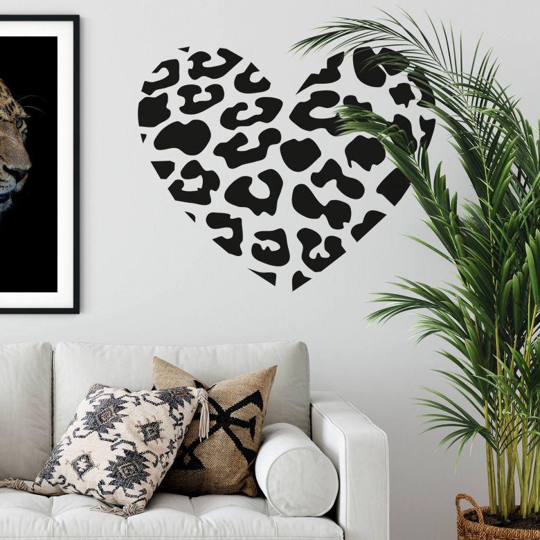 Sticker mural - Coeur motif léopard