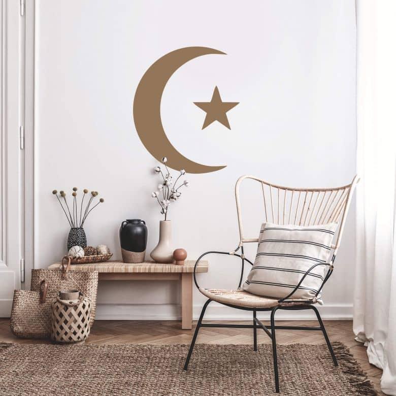 Sticker mural - Croissant de lune et étoile 1