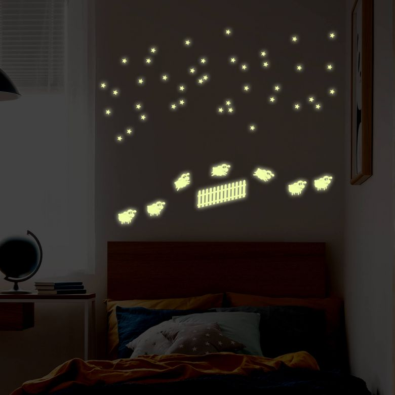 Muursticker Glow in the Dark - Schaapjes Tellen