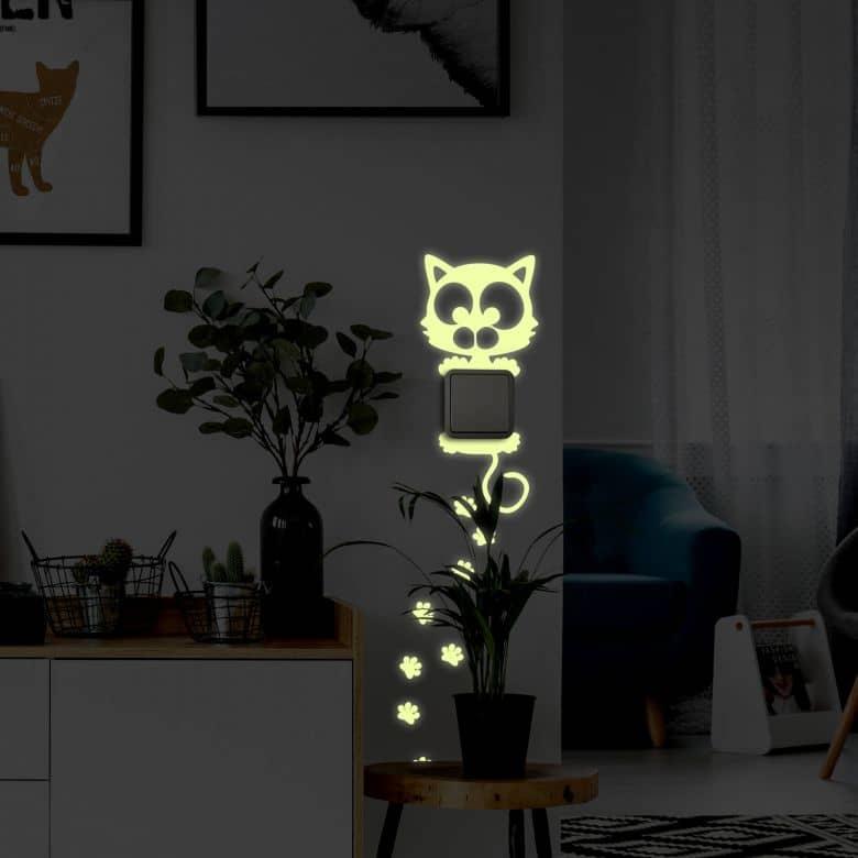 Sticker mural - Chat phosphorescent