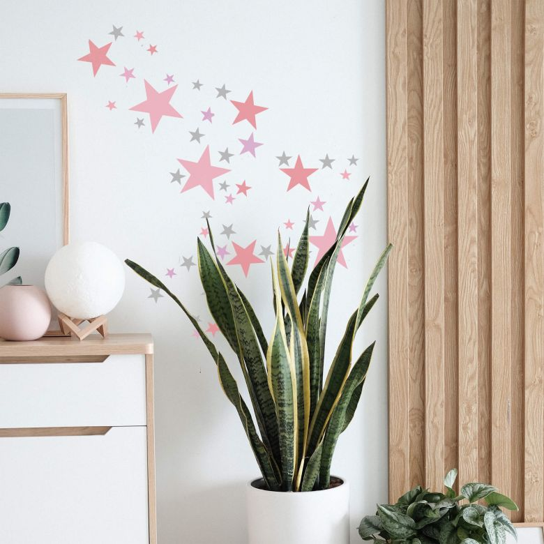 Wall sticker set Stars - Pink & Grey