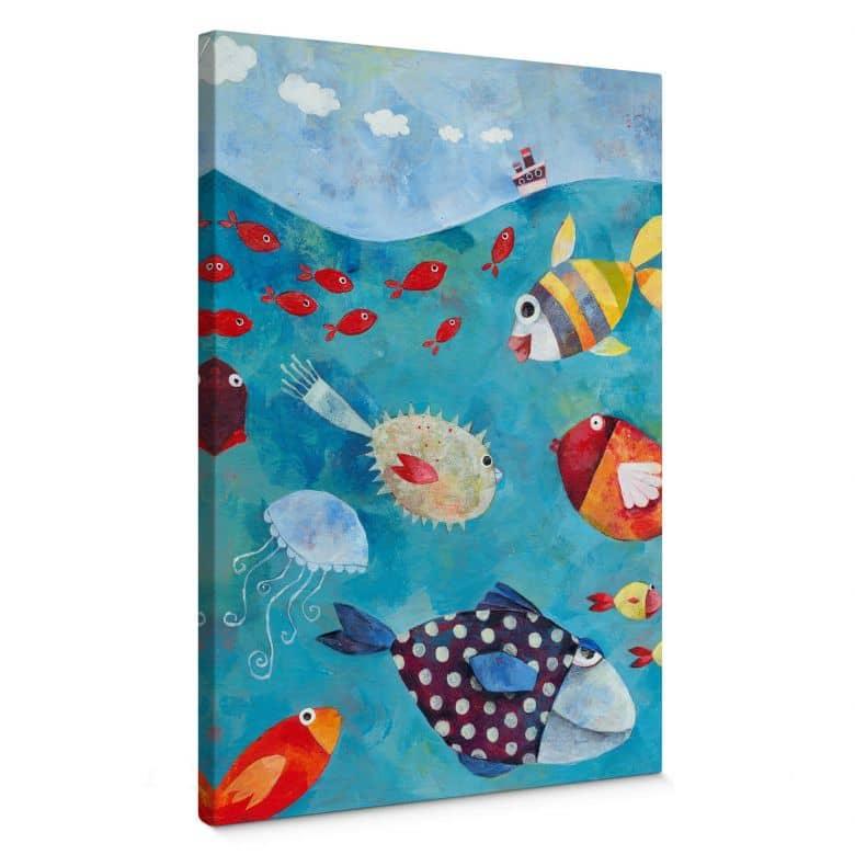Canvas Blanz – Zwemmende vissen