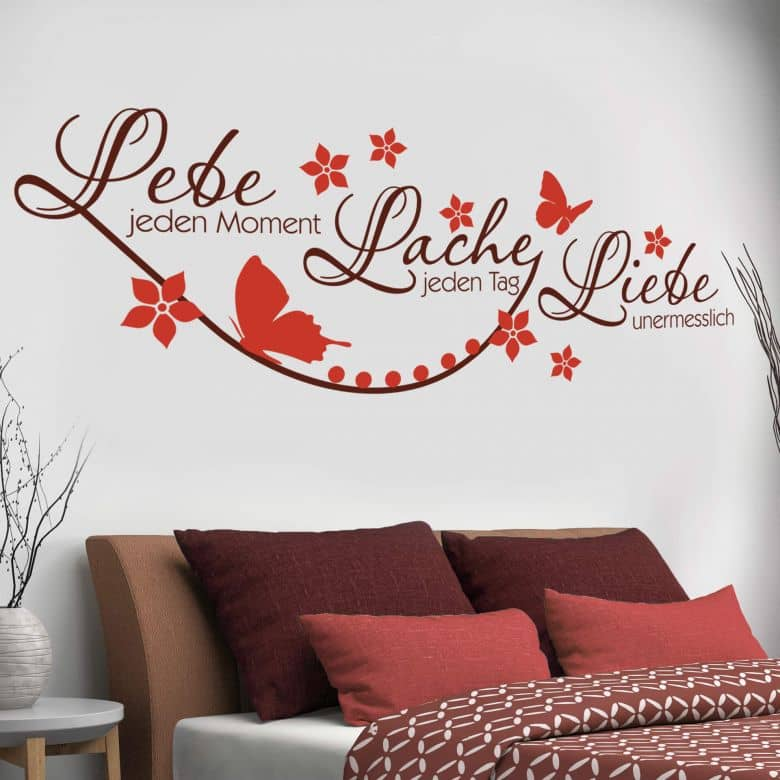 zweifarbiges wandtattoo lebe jeden moment 3 von k l wall art wall. Black Bedroom Furniture Sets. Home Design Ideas