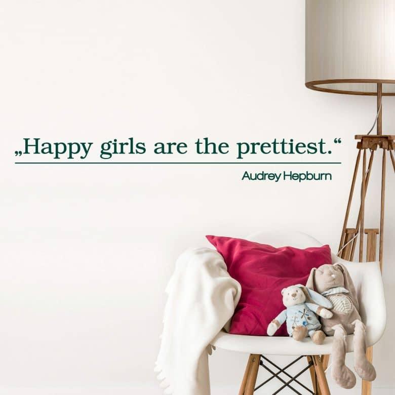 Muursticker Happy Girls are the prettiest 2
