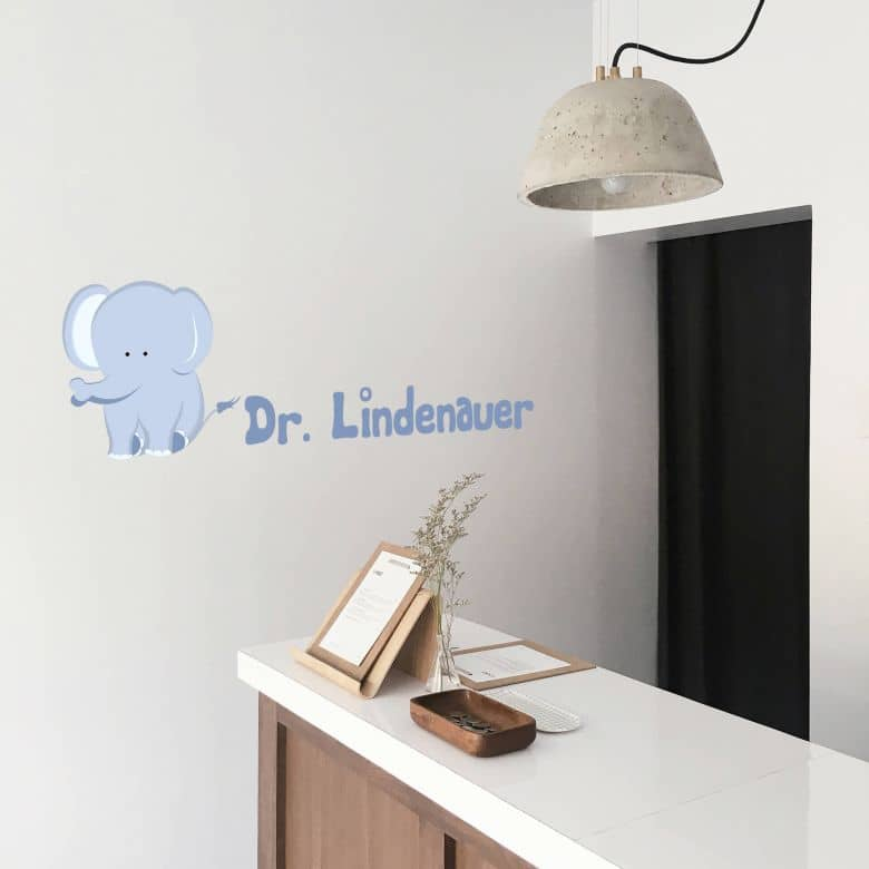 Wandtattoo + Name Elefantenbaby