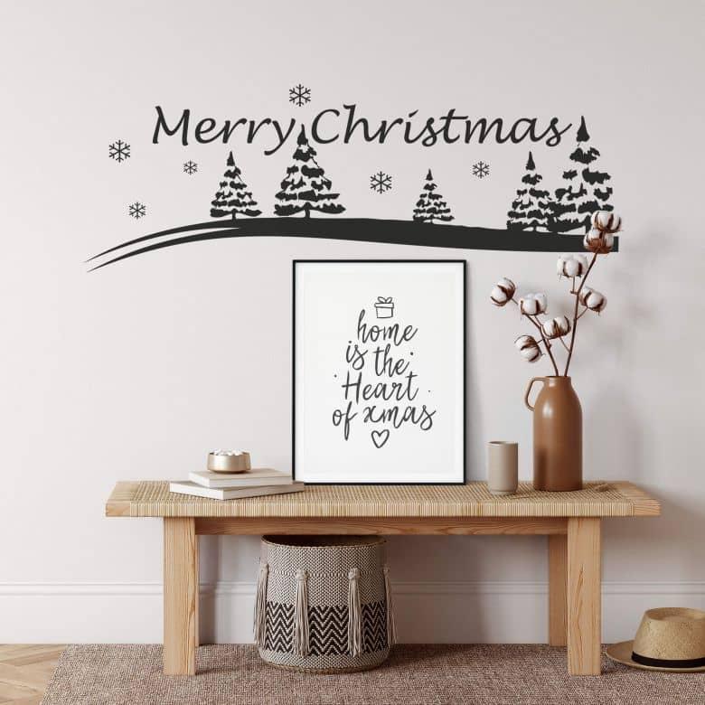 Wandtattoo Merry Christmas Winterlandschaft