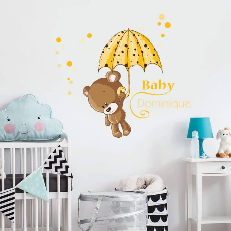Wandtattoo Name Baby Gelb Wall Art De
