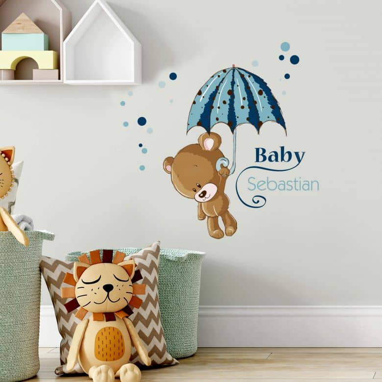 Wandtattoo Name Baby Blau Wall Art De