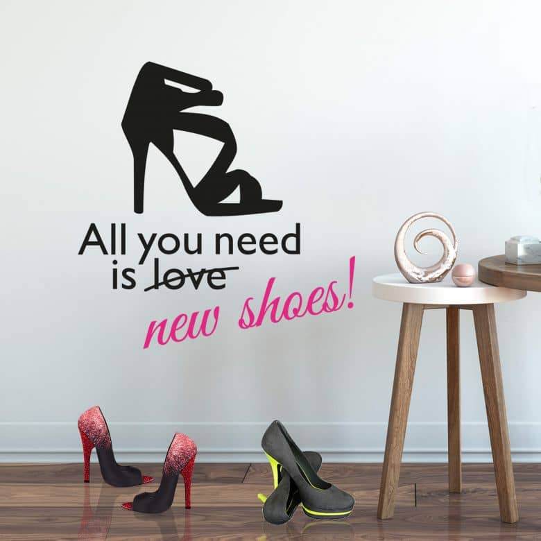 Muursticker All you need is new shoes! (2-kleurig)