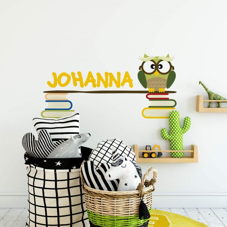 Wandtattoo + Name Büchereule
