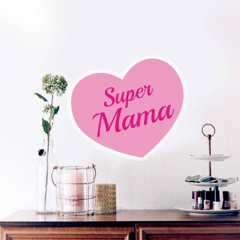 Wandtattoo Super Mama rosa