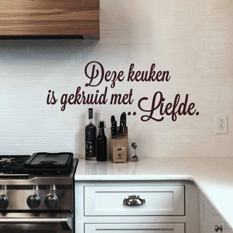 Wandtattoo Deze keuken is gekruid met Liefde