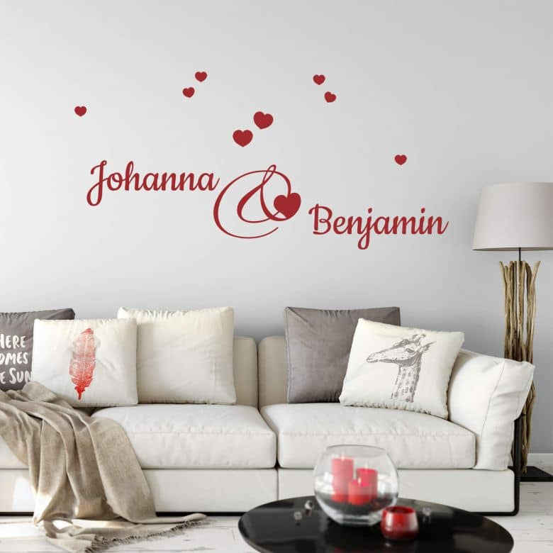 Names + Hearts Wall sticker