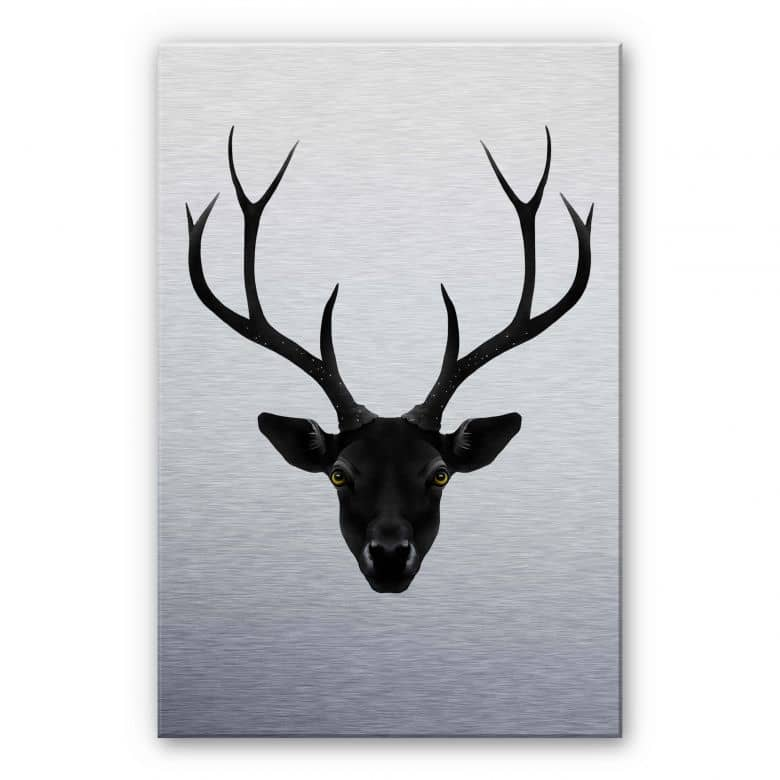 Alu-Dibond Silver effect - Ireland - Black Deer