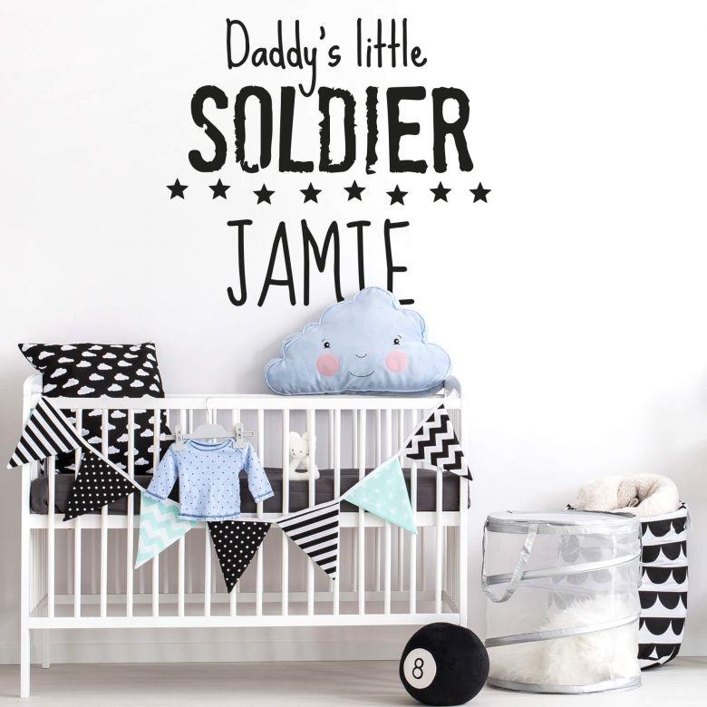 Muursticker met naam: Daddy\'s little Soldier