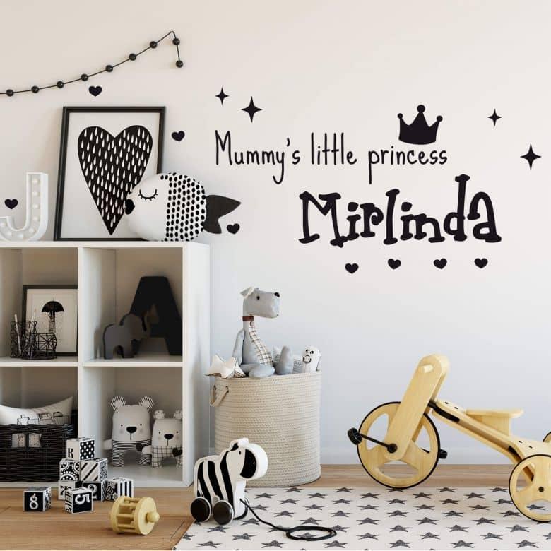 Mummy\'s little Princess + Name - Wall Sticker