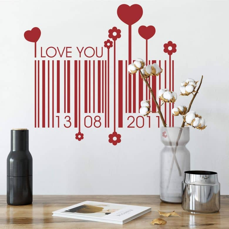 Love Date Barcode Wall Sticker