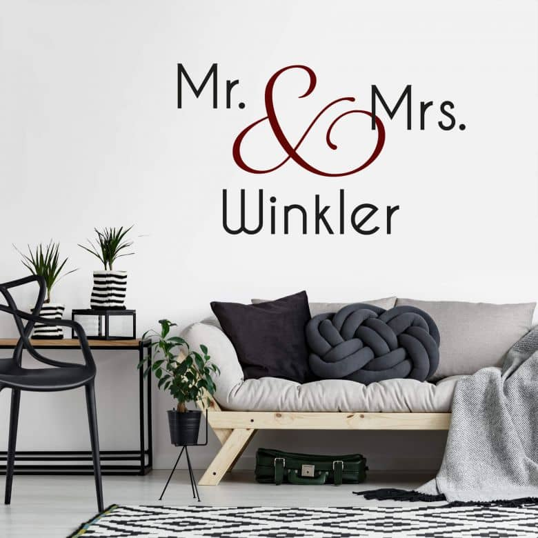 Name + Mr. & Mrs. (2-colours) Wall sticker