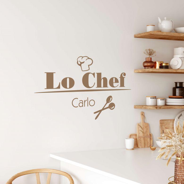 Sticker mural  Lo chef + Nom à personnaliser