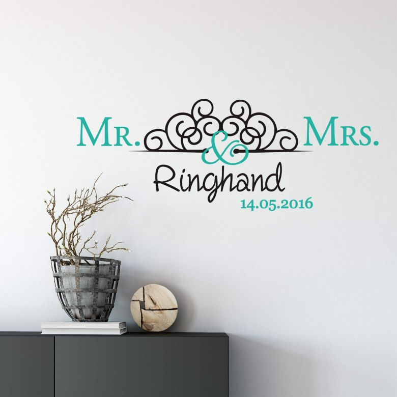Muursticker + Naam + Datum Mr. & Mrs. 02 (2-kleurig)