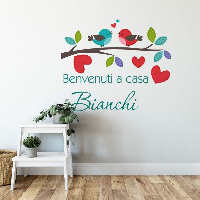Sticker mural Benvenuti a casa + Nom à personnaliser