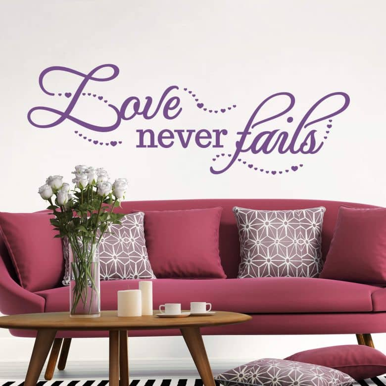wandtattoo love never fails wall. Black Bedroom Furniture Sets. Home Design Ideas