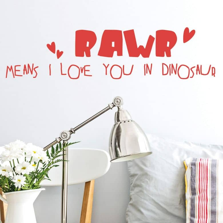 Wandtattoo Rawr means I love you in dinosaur