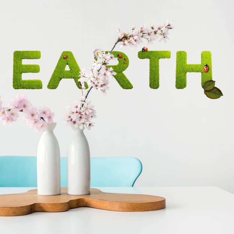 wandtattoo earth als schriftzug f r die wand wall. Black Bedroom Furniture Sets. Home Design Ideas
