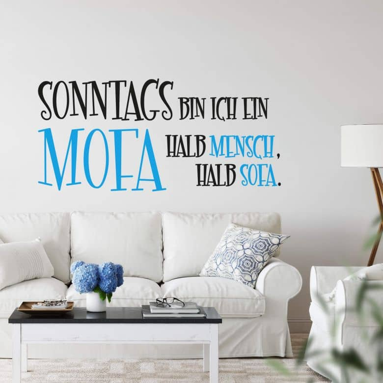 Wandtattoo Sonntags bin ich ein Mofa...(2-farbig)